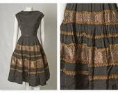 ORIGINAL VINTAGE 1950s 50s Black Mexican Style Dress with Gold and Red Trim / Large / Waist 33.5""