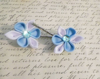 Light Blue and White Kanzashi Flower Bobby Pins