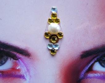 Twinkle star bindi - tribal fusion bellydance accessory - hindu woman jewelry - winter white gold rhinestone bindi - fantasy