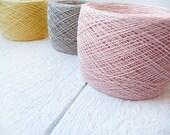 Linen Yarn,  set of 3 balls, natural linen thread, pastel colors, yellow, pink, grey linen