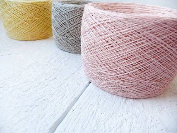 Linen Yarn,  set of 3 balls, natural linen thread, pastel colors, yellow, pink, grey linen