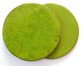 round coasters, ceramic coasters, bright clay, green, set of two, 2pc, green round coasters, ceramic tableware, home decor