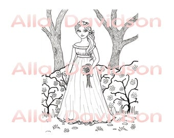 Printable digital Coloring book for girls Print on demand 10 pages of Princesses and their friends, flowers, butterflies etc.