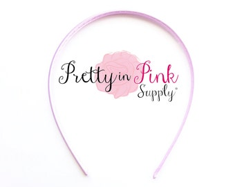 Light Pink Satin Lined Headband- You choose quantity- Satin Lined Headband- Skinny Headband- Girls Headband- DIY Supply- Plastic Headband