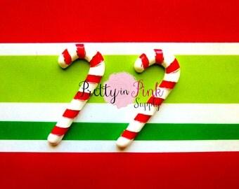 Candy Cane Metal Embellishment - Christmas Applique- Button- Rhinestone Embellishment- DIY Headband Supply
