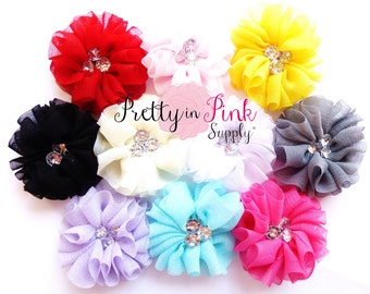 BELLA Collection Rhinestone Chiffon Flowers Choose Quantity and Colors.....DIY Headbands...Embellishment...Button