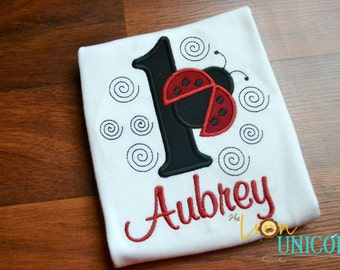 Ladybug First Birthday shirt (other numbers available)