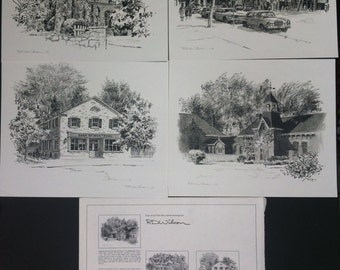 Vintage Four Prints from the original drawings by RD Wilson, Compliments of Bank of Montreal Niagara-on-the-Lake Branch