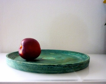 Large Vintage Wooden Plate from Finland / Studio Work / Emerald Green / 1980s