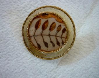Austrian Design Brooch / 1980s Design Workshop Vienna Wien / Handmade / Leaf Brooch Pin