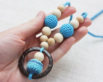 Promo price Eco-friendly Teething Nursing necklace for breastfeeding Mom Sling accessories - blue colors - Gift under 10