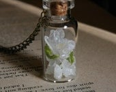 Holiday Gift under 20, Glass Specimen Jar, Terminated Quartz Crystal, Citrine Crystal, Moss Lichen, One-of-a-kind, Glass Jar Bottle Necklace - TheMagiciansCat