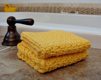 2 Handmade Washcloths 100% Cotton Yellow