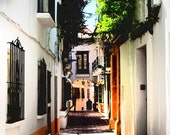 Spain Landscape Photography. Costa del Sol Old Town Alley.  Orange White Spanish