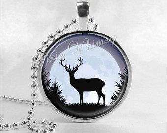 DEER Necklace, Deer Pendant, Deer Jewelry, Deer Charm, Glass Photo Art Pendant Charm, Animal Jewelry, Gift for Hunter, Nature Jewelry