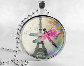 EIFFEL TOWER And DRAGONFLY Necklace, Eiffel Tower Pendant, Eiffel Tower Jewelry, Dragonfly, Paris, France , French, Glass Photo Art Necklace