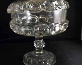 Vintage Glass Covered Compote