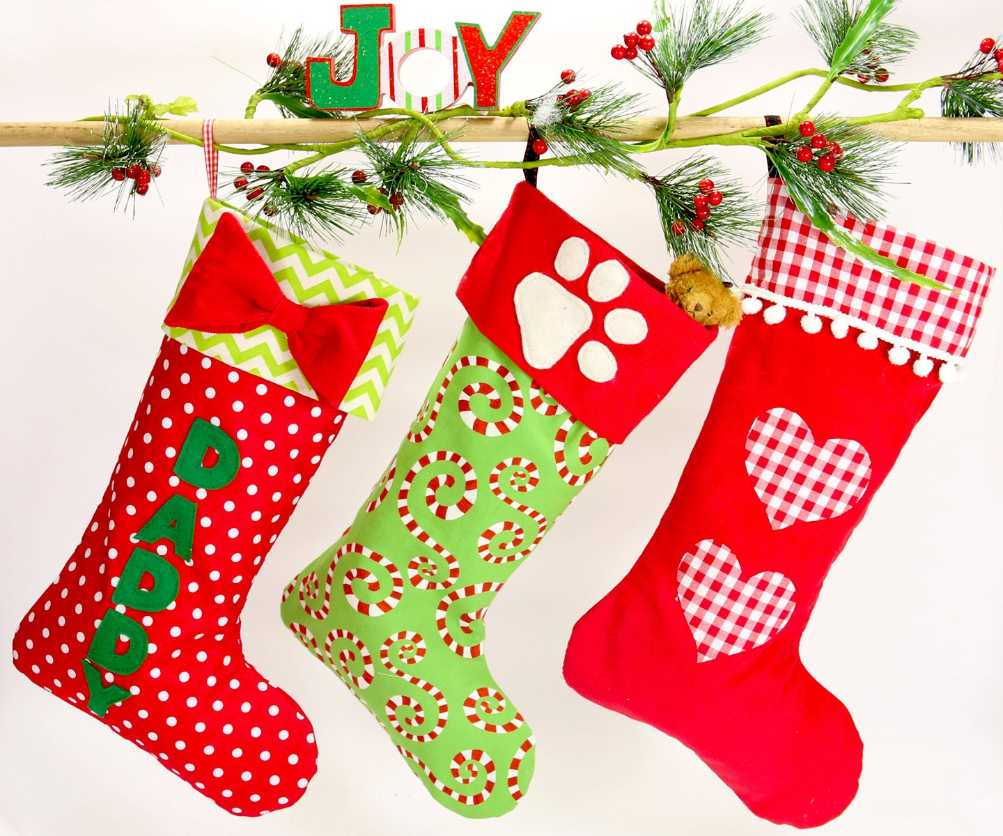 Christmas stocking pattern PDF 4 sizes and applique templates