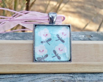 Classic Glass Pendant, Light Blue with Tiny White Flowers