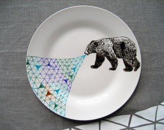 Bear Geometric Design Plate hand illustrated porcelain