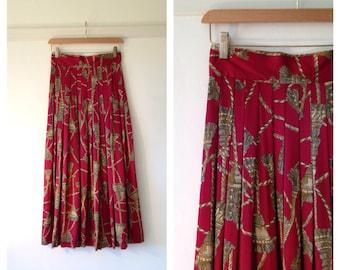 full midi skirt / pleated skirt / womens long red skirt / extra small high waisted