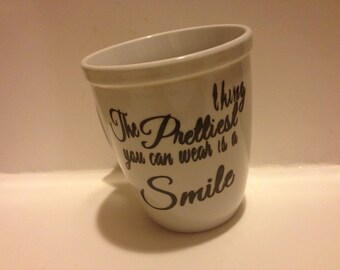 personalized mug ( the prettiest thing you can wear is a smile) or  baby wipes case