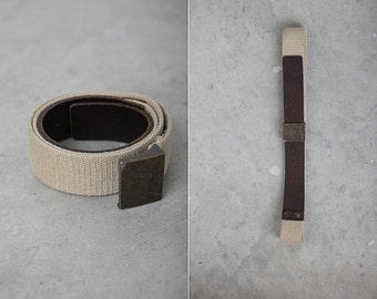 1980s Vintage Leather and Fabric Belt with a Metal Buckle / Women Accessories / Retro Belt