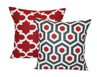 Pillow Set of 2 - Quatrefoil and Honeycomb Throw Pillows - invisible Zipper - You Choose You Size - Red and Gray Accent Pillows