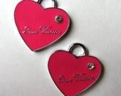Set of 2 Enamel PINK HEART Charm Pendant (a-15)