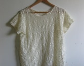SALE Vintage Ivory Lace Short Sleeve Blouse - See-through - XS S M L