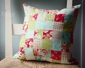 SALE - Retro Patchwork Quilted Pillow for new home housewarming nursery new baby shabby chic beach house