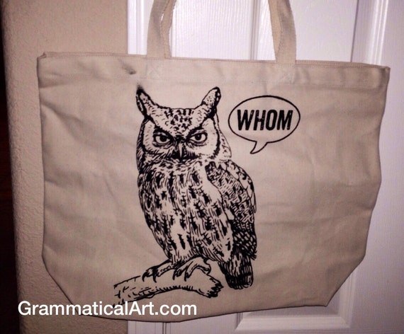 Sale Large Totes Beach Bags Canvas Tote Bag Whom Owl Tote