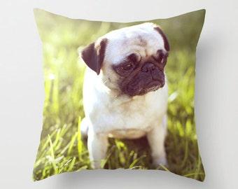 Pug Pillow - Dog Pillow - Sad Pug Pillow - Pug Cushion - Pug Pillow Cover 16x16 18x18 20x20 Pillow Cover