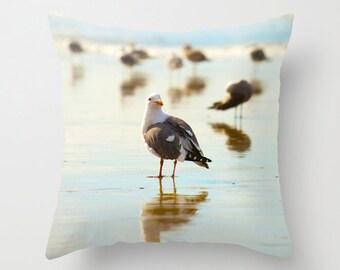 Bird Pillow - Beach Pillow Case - Seagull Pillow - Ocean Pillow Cover - Ocean Pillow Case - California Pillow Cover - Oceanside Beach
