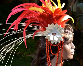 Red and yellow feather headband