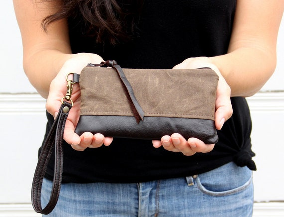 Small iPhone Wristlet in Brown Waxed Canvas and Espresso Leather