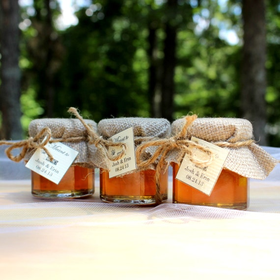 SET OF 24 Rustic Chic raw honey wedding favors -honey jars country chic wedding  barn wedding party favors, baby showers, bridal showers