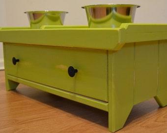 Raised Dog Bowl Stand w/DOVETAIL DRAWER--Pesto Green---Raised Dog Bowl Feeder, Raised Dog Bowl Holder, Raised Dog Stand, Dog Bowl Stand--