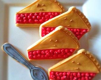 12 Vegan Cherry Pie Decorated Sugar Cookies