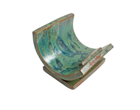 Ceramic business card holder unique card holder ooak for Ceramic business card holder