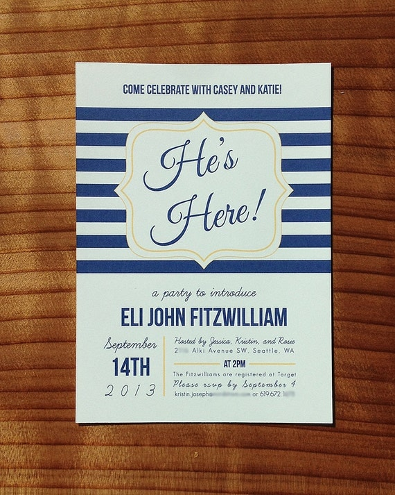 Hes here baby shower meet and greet invitation like this item m4hsunfo