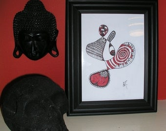 Black & Red Abstract Framed Drawing / Doodle, Eye, Goth, Piano, Crystal