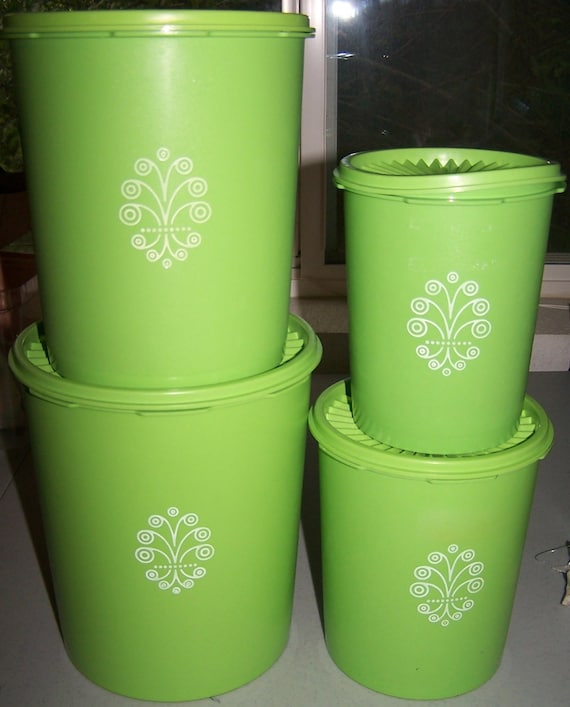 Green Kitchen Canisters: TUPPERWARE Canisters Containers Set Of 4 Lime Green