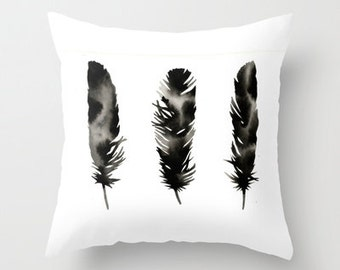 Pillow with Insert . Feathers Three . Black White . Modern . Silhouette . Modern Home Decor