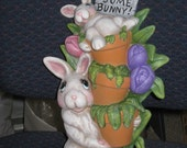 Easter, spring, ceramic, bunny, hand painted by Joan Davis, 12 inches tall