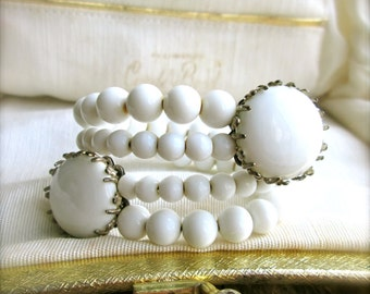 Mid Century White Glass Beaded Bracelet Wrap Bracelet Cuff Vintage  Miriam Haskel Prong Set Wedding Gifts For Her
