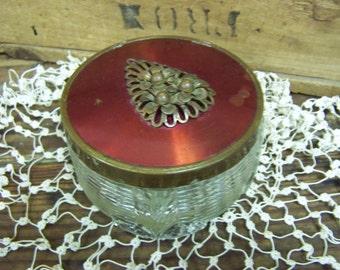 Glass Powder Box Art Deco Powder Box Ladies Powder Box Trinket Box