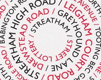 Streatham Street Lottery / Streatham Print, Streatham Poster, A3 Print, Streatham Streets, Streatham Roads, London Print, South London Print