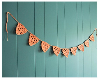 Crochet Bunting - Flags - Pennants - peach bunting - baby banner