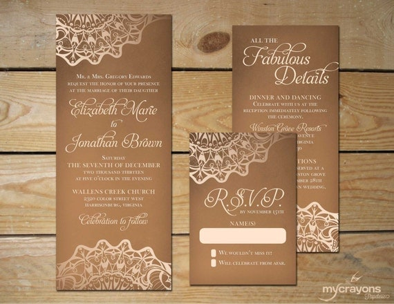 items similar to rustic burlap lace wedding invitation set // diy, Wedding invitations
